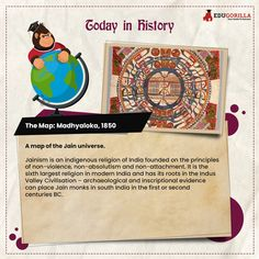 Today in History A map of the Jain universe. #todayhistory #didyouknow #didyouknowthat #edugorilla #education #learning #students #teachers #success #inspiration #motivation #knowledge #WorldWar #WorldWar1 Today History, Modern India, Online Tests, Study Materials, Religion, Students, Knowledge, Universe, Success