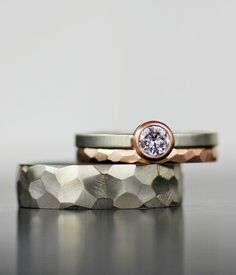 Moissanite and mixed metals wedding band set Minimalist, modern, timeless design. These rings defy gender and give you a beautiful alternative to the rings your see every day. A stunning alternative to the traditional diamond Engagement Ring Rose Gold, Wedding Rings Solitaire, Modern Engagement Rings, Wedding Rings Rose Gold, Wedding Jewelry, Gold Wedding, Handmade Engagement Rings, Alternative Engagement Rings, Engagement Bands
