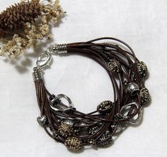 Brown Multi-strand Waxed Cord Bracelet