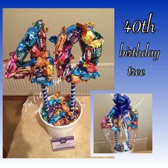 40th birthday tree created using cadbury roses