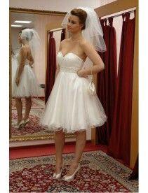 A Linie|Prinzessin Knielange Organza Liebsten Perlenstickerei Brautkleid Standesamt