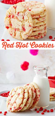 Red Hot Cookies: These Valentines Day Cookies Start With A Soft Chewy Sugar Cookie That Is Loaded With Crushed Red Hot Candies To Create A Speckled Appearance. Valentine Desserts, Valentines Day Cookies, Cookie Desserts, Fun Desserts, Cookie Recipes, Delicious Desserts, Dessert Recipes, Valentine Nails, Valentines Food