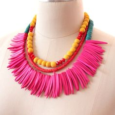 The Sun Dancer - A Tribal Necklace in Neon Colours