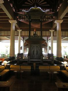 Malaysia - Langkawi Island. Part of the foyer at the Andaman hotel.