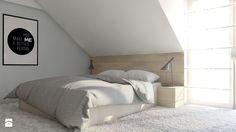 Projekt domu jednorodzinnego 6 - Średnia sypialnia małżeńska na poddaszu z balkonem / tarasem, styl skandynawski - zdjęcie od BAGUA Pracownia Architektury Wnętrz