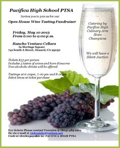 Oxnard, CA Pacifica High School PTSA invites you to join us for our Open House Wine Tasting Fundraiser with catering by the Pacifica High Culinary Arts State Champions. Silent auction with wine tastings at 6, 7… Click flyer for more >>