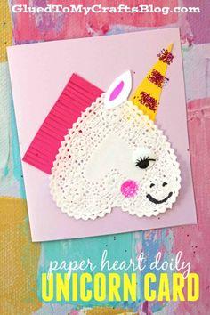 Paper Heart Doily Unicorn Card