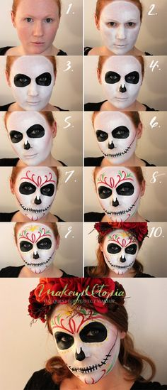Looking for for ideas for your Halloween make-up? Browse around this website for cute Halloween makeup looks. Visage Halloween, Halloween Face Mask, Halloween Halloween, Halloween Costumes, Maquillage Sugar Skull, Day Of Dead Makeup, Maquillaje Halloween Tutorial, Diy Beauty Hacks, Make Up Gesicht