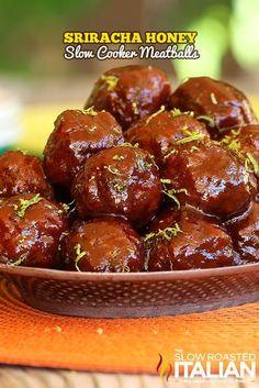 Sriracha Honey Slow Cooker Meatballs - MasterCook
