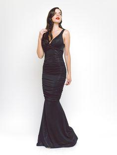HONOR GOLD - GABRIELLA MAXI DRESS IN BLACK GOLD