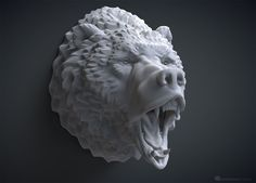 Roaring bear head sculpture. Solid 3D model.The fury and anger of a wild beast. 3d model of a brown bear (grizzly) head with opened jaws, realistic tongue and teeth. May be used for 3d printing, CNC milling, Rendering, Jewelry design etc.Default size - 10cm tall (you can scale it up or down). Asymmetric high poly 3D model is fully ready for 3d printing (error free). Includes digital 3d model only, MAX, STL and OBJ files available. MAX and OBJ files UV-Unwrapped, non overlapping.