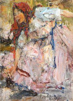 Баба в красном платке. Этюд к картине Обливание (1911 — 1914). Николай Фешин