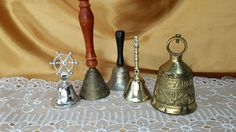 Collection of 5 Metal Bells, Vocem Meam a Ovime Tangit, brass monastery;  Wood handle etched India; Souvenir California, instant collection