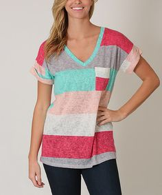 Mint & Coral Stripe Top | zulily