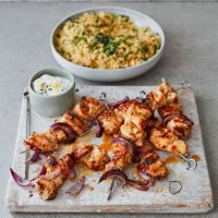 Moroccan-spiced chicken skewers