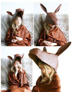 Cardboard mask donkey - deguisement peau d'âne en carton