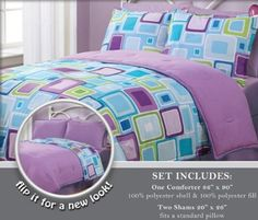 Twin Geo Aqua Square Reversible Comforter Set: Reversible microfiber comforter set with Geo Aqua Square. Reverses to solid color. This set includes:one Comforter and 1 Standard Pillow Sham Bed Sets, Bed Sheet Sets, Bedroom Sets, Girls Bedroom, Bedroom Decor, Neon Bedroom, Girl Room, Purple Comforter, Kids Comforter Sets
