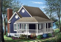 Really Cute: Measuring just over 600 sq.ft. this tiny plan includes an open kitchen and a dining room, a living room with a fireplace, a bathroom, a laundry room and a bedroom. House Plan No.170116