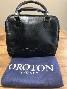 72e807235dc277 OROTON Black Leather Tote Handbag Purse With Dust Bag Vintage Sydney  #Oroton #Tote Black