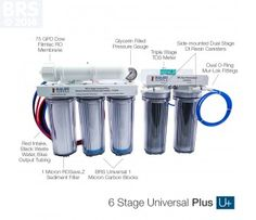 BRS 6 Stage Universal Plus RO/DI System - The BRS 6 Stage Universal systems are ideal for the reefer who simply wants to know they have the best filtration available. Our Universal systems include dual BRS Universal Carbon Blocks, dual DI resin cartridges and Dow membranes which provide best in industry performance treating for chlorine, chloramines, phosphate, nitrate, ammonia and the widest array of chemical or elemental contaminants.