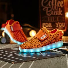 Men's Shoes Shoes The New Coconut Light Shoes Children Breathable Weaving Board Shoes Led Light Shoes Wholesal