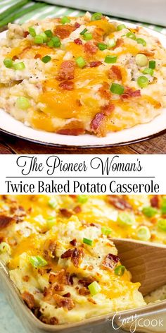 The Pioneer Woman's Twice Baked Potato Casserole Recipe is the BEST easy make-ahead side dish! #potatoes #casserole #comfortfood #sidedish #thepioneerwoman #makeahead #freezerfriendly #twicebaked #bacon #cheese
