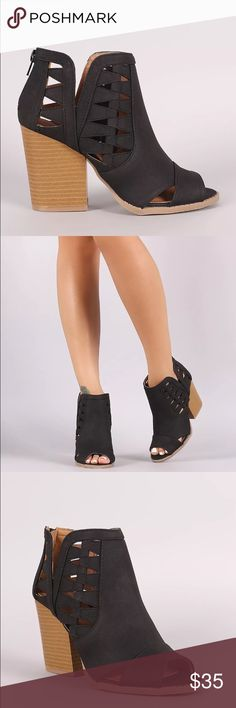 """Black Cutout Peep Toe Spring Wood Block Booties ANGULAR CUT OUTS AND A LOW SLUNG SHAFT DETAIL TO SHOW FLASHES OF SKIN. FEATURES A PEEP TOE AND A CHUNKY STACKED HEEL  THAT ADDS ENOUGH HEIGHT WITHOUT SACRIFICING COMFORT.  MATERIAL: MAN-MADE, LEATHERETTE  SOLE: SYNTHETIC  MEASUREMENT: HEEL HEIGHT: 3.5""""  FITTING: TRUE TO SIZE Shoes Heels"""