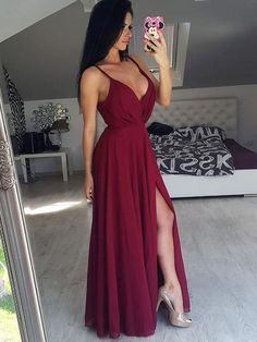 Outlet Suitable Burgundy Prom Dresses Simply Elegant Straps Burgundy Long Chiffon Prom Dress With Side Slit Burgundy Prom Dress, Prom Dresses, Chiffon Prom Dress, Prom Dress 2019 Prom Dresses 2019 V Neck Prom Dresses, Sexy Dresses, Beautiful Dresses, Bridesmaid Dresses, Dress Prom, Party Dresses, Long Dresses, Backless Dresses, Prom Gowns