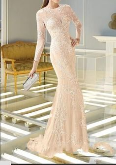 Illusion Long Applique Mermaid Luxury Evening Party Dress Cocktail Prom Gown New