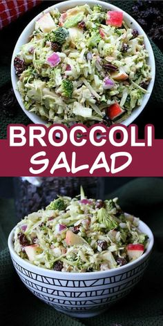 Healthy broccoli salad with raisins, apples and no mayo. #veganinthefreezer #easybroccolisalad #veganbroccolisalad #healthybroccolisalad #applesalads #broccolisalads #applebroccolisalad Vegan Broccoli Salad, Broccoli Salad With Raisins, Broccoli Recipes, Broccoli Dishes, Fresh Salad Recipes, Healthy Salad Recipes, Vegetarian Recipes, Cooking Recipes, Vegetarian Appetizers