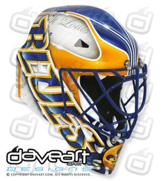 Mckenna's New St. Hockey Helmet, Hockey Goalie, Hockey Players, Ice Hockey, Football Helmets, Mask Painting, Goalie Mask, Blue Mask, St Louis Blues