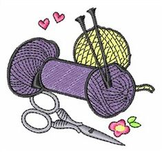 Concord Collections Embroidery Design: Knitting Yarn 2.21 inches H x 2.37 inches W
