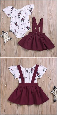 Short Sleeves Floral Bodysuit, Overall Skirt, Headband in Wine Red/Yellow – Baby Wear - Babykleidung Baby Outfits, Cute Girl Outfits, Little Girl Outfits, Kids Outfits, Fall Toddler Outfits, Baby Girl Fashion, Kids Fashion, Baby Hair Bands, Baby Dress Design