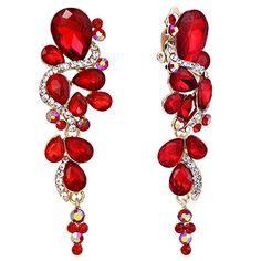 1 Paire Femmes Bleu Rouge Cristal Strass Goutte Dangle oreille Boucles d/'oreilles créoles bijoux