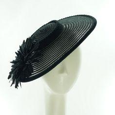 Sheer Black WIDE BRIM HAT for Women / Vintage by TheMillineryShop