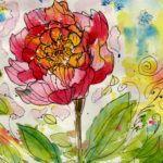 #worldwatercolormonth July 16 Pink Flower Karen Smith