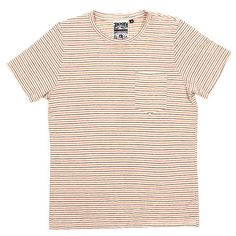 Thin Stripe Pocket Tee Red Blue Natural