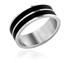 $9.99 - Stainless Steel Men's Ring with Black Stripe Design