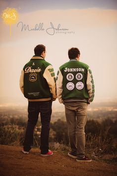 Senior Photos with Letterman's jackets Stand on the football field bleachers and look onto the field Twin Senior Pictures, Friend Senior Pictures, Photography Senior Pictures, Senior Photos, Senior Portraits, Twin Photos, Hobby Photography, Senior Boy Poses, Senior Boys
