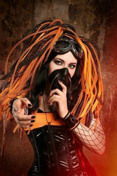 Cybergoth by Tvirinum on DeviantArt New Look Fashion, Punk Fashion, Gothic Fashion, Fashion Mask, Goth Beauty, Dark Beauty, Steampunk, Industrial Goth, Gothic Lingerie