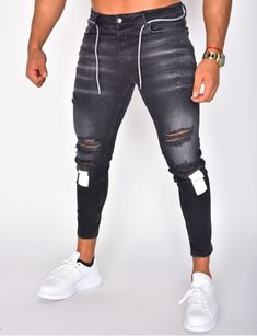 Jeans homme pas cher, jeans Redskins, jean Sixth June - Jeans Industry Ripped Jeans Men, Black Jeans, Skinny Jeans, Gents Jeans, Casual Jeans, Casual Outfits, Men Street Look, Jean Destroy, Fashion Pants
