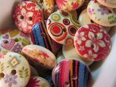 20 Painted Wooden Buttons 15mm Mixed Pattern Sewing by WNBrunk
