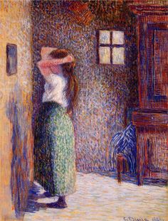 Global Gallery 'Country Girl at Her Toilet' by Camille Pissarro Framed Painting Print Size: Painting Frames, Painting Prints, Painting & Drawing, Oil Paintings, George Seurat, Gustave Courbet, Art Antique, Impressionist Artists, Impressionism Art