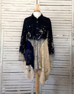 Denim and Lace Tunic M/L Upcycled Tunic Upcycled by AnikaDesigns