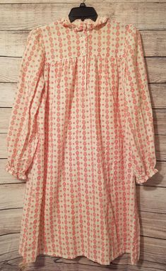 L/XL Pink/White Hearts Floral Long Sleeve Pullover Modest Prairie Nightgown #Unbranded #Gowns #Everyday