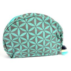 Flower of Life Cosmetic Bag Grey/Turquoise