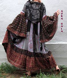 Althea~ Poorgirl Boho Tattered Upcycled Long Dress M-1X Plus AuraGaia
