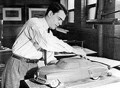OG | 1948 Tucker 48 | Philip Sidney Egan working on a scale clay model of a proposed two-door version of the car
