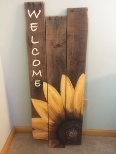 Sunflower welcome sign sunflower canvas, sunflower crafts, sunflower decorations, outdoor welcome sign, Pallet Crafts, Pallet Art, Wood Crafts, Sunflower Crafts, Sunflower Decorations, Sunflower Clipart, Sunflower Canvas, Sunflower Kitchen Decor, Diy Wood Signs