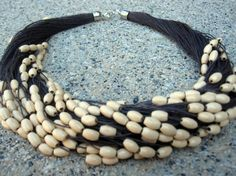 Linen Purple Necklace White Wood Beads Knots by espurna88 on Etsy, €19.99